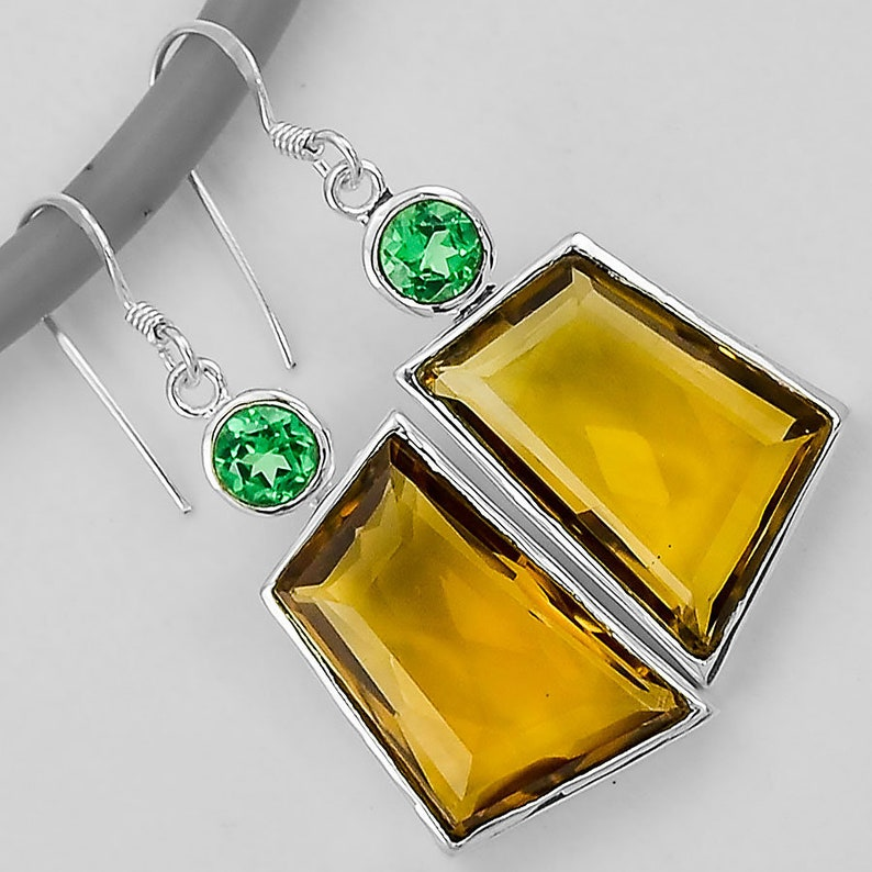 Cognac Quartz and Green Tourmaline 925 Sterling Silver Earrings Jewelry SDE10120