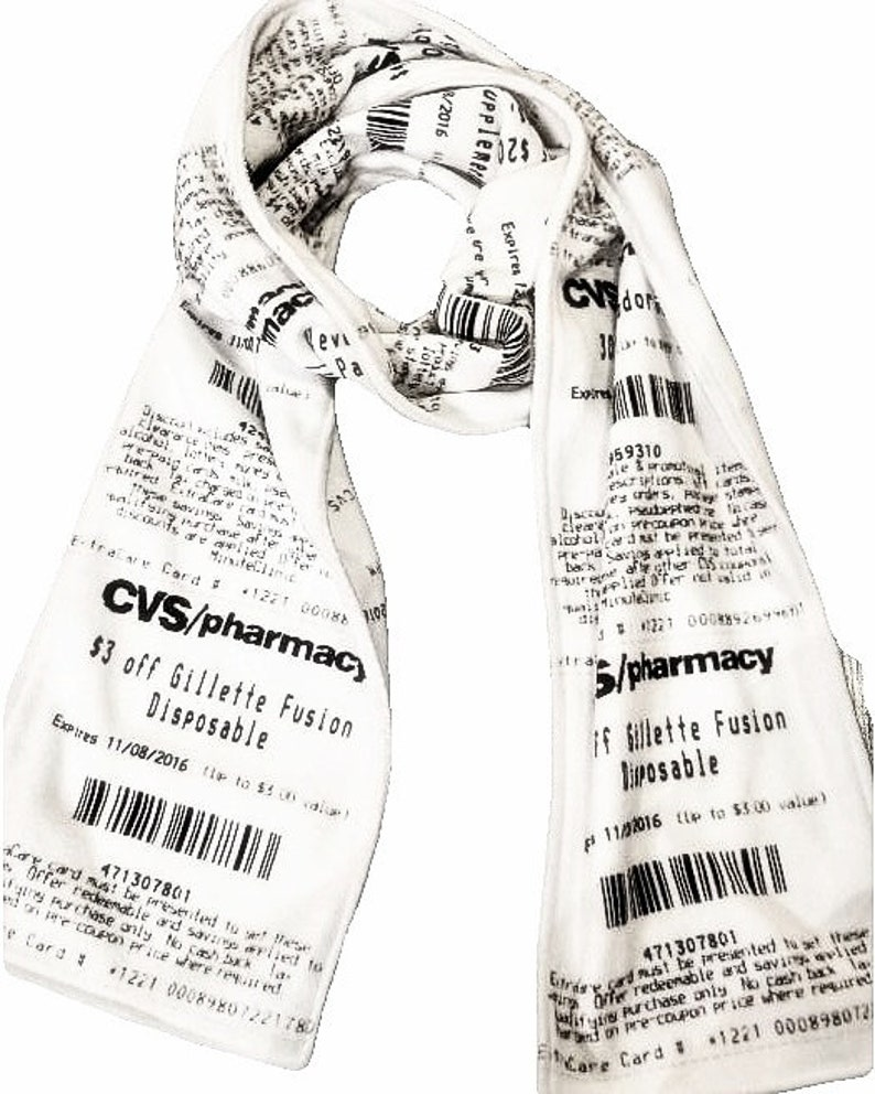 CVS Receipt Scarf soft fleece scarf for any season designed image 0