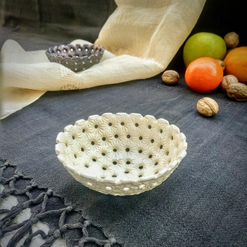 Home Decor Black /& White Ceramic Christmas Decor Candle Holder Set Of 2 Bowl Handmade Ceramic Gift Pottery Fruit Bowl Modern Ceramic
