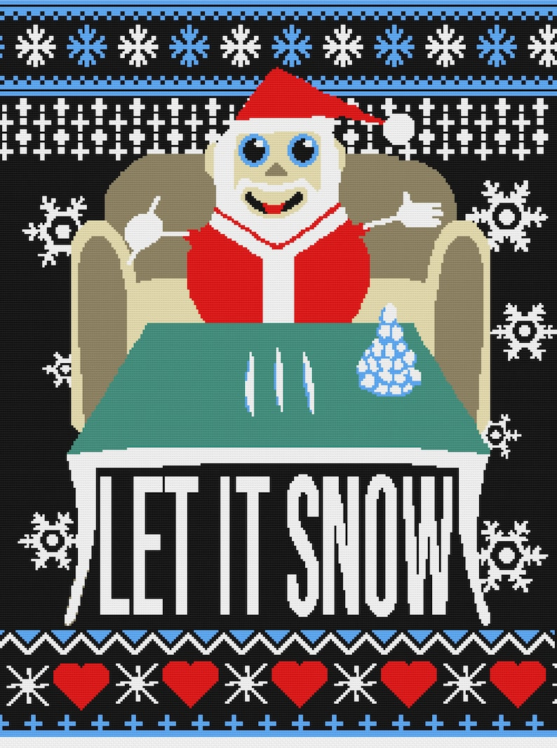 Christmas Santa Let It Snow Crochet Pattern for throw image 0
