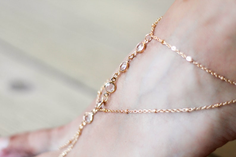 Crystal Bead Barefoot Jewelry Simple Beach Barefoot Sandals Minimalist Barefoot Sandals Beach Wedding Bridesmaid Jewelry Gold Anklet