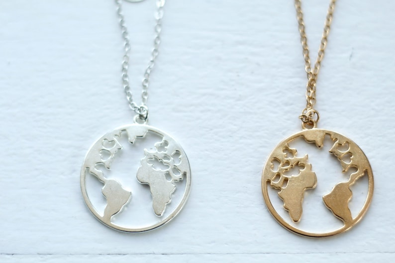 Travel Jewelry Silver Globe Necklace Layering Jewelry Friendship Gift World Map Necklace Silver Globe Necklace Graduation gift