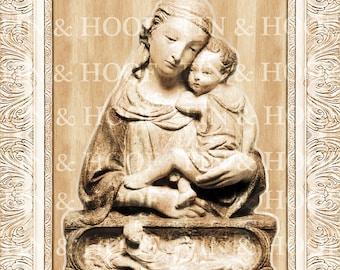 Madonna and Child II | Custom Designed | Digital Laser Cut file | Glowforge | PNG | Antique | 3D | Vintage | Religious