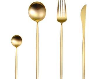 Service for one** Flat gold minimalist flatware (set of 4 pieces/ 2 SET MINIMUM**