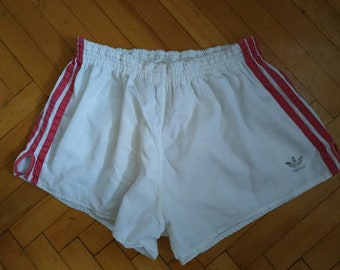 690ca290b59 ADIDAS vintage 80s made in Yugoslavia short Cotton shorts size XL(M)  sprinter running athletic vtg retro Beach gym summer sport White soccer