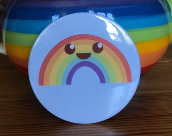 Rainbow Pocket Mirror - Equality,Pride Month, LGBTQ,makeup,colourful,merch,kawaii,cartoon,Cute,cosmetic,travel size,gift - 76mm (3 inch)