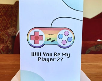 Will You Be My Player 2? Card- Valentines, Anniversary,Engagement,Wedding,Gaymer, LGBTQ,Lesbian,Gay,Bi,Trans,gaming, For Him, For Her - A6