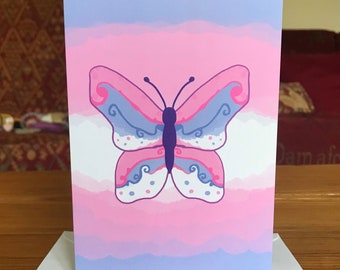 Trans Butterfly Greetings Card - A6 - Transgender,Pride,Coming Out,Acceptance,Transitioning,LGBTQ, butterflies