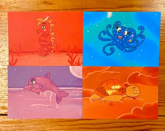 Sea Creature Postcards (Set of 4) Dolphin, Turtle, Seahorse, Octopus Bright, Colourful Illustrations, Fun, Cute, Psychedelic, Animals