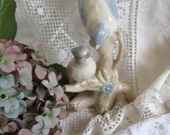 Vintage Bird Pair Porcelain Figure Mid Century Shabby Brocante