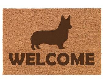 Housewarming Gift Welcome Mat Puppy Last Name Door Mat Custom Doormat Closing Gift Pembroke Welsh Corgi Personalized Doormat