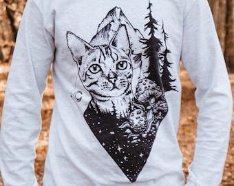 Wanderlust Longsleeve Shirt   Cat Shirt   Mountain Shirt
