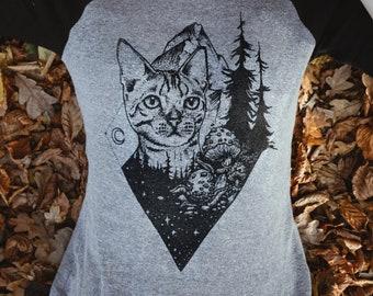 Wanderlust Sleeve Shirt   Cat Shirt   Mountain Shirt