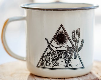 Desert Dweller   Enamel Mug   Cat Mug   Cat Coffee Cup