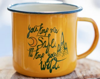 Meowntain Spirit Coffee Cup   Enamel Mug   Cat Mug   Cat Coffee Cup