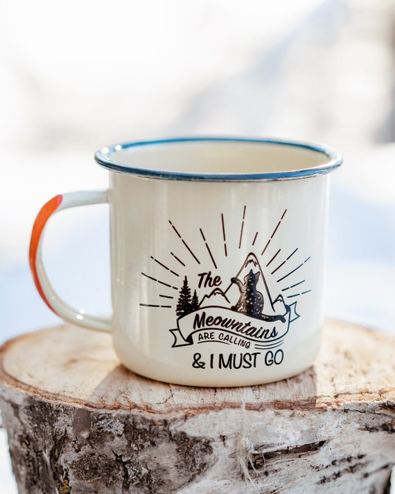 Meowntains Coffee Cup | Enamel Mug | Cat Mug | Cat Coffee Cup by Etsy