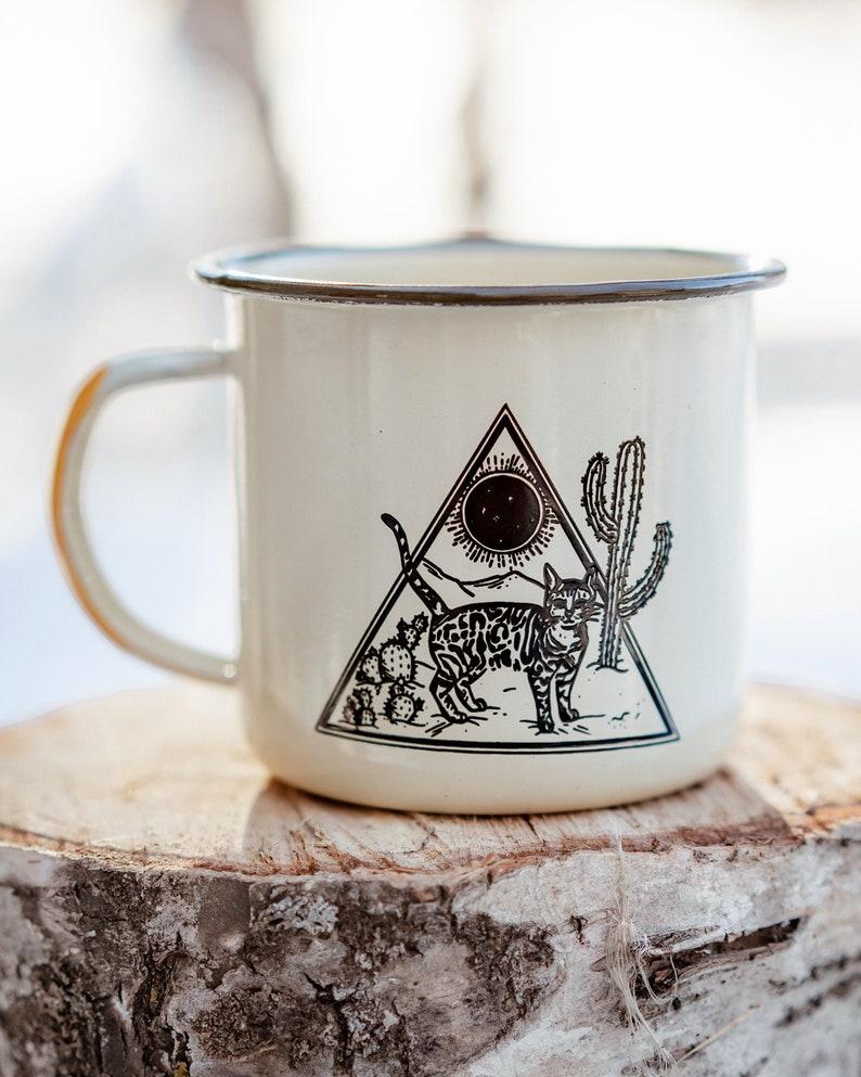 Desert Dweller  Enamel Mug  Cat Mug  Cat Coffee Cup image 0