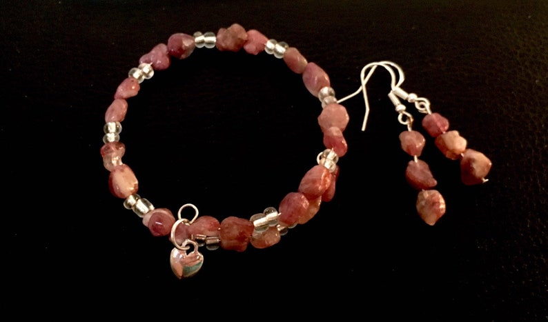 Natural Pink Tourmaline and Earrings Set