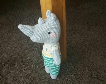 Crochet animal, rhinoceros, amigurumi