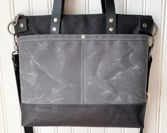 Waxed Canvas Crossbody Tote with Leather Handles and Straps, Cami Bag, Black & Charcoal