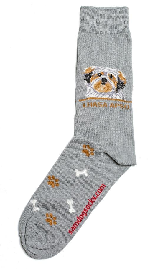 Personalized Puppy Lhasa Apso Dress Socks For Women Men