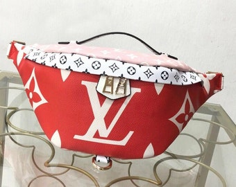 ccd2f58d87e0 Custom Handmade LV Leather Fanny Pack Shoulder Bag