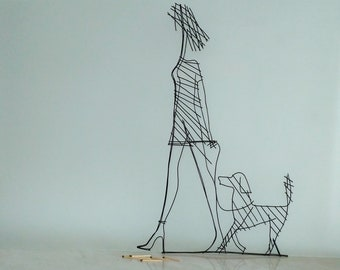 wire art wire art beloved dog Gift wall wire Art deco woman and dog Wall gift woman a dog line woman wire sculpture Minimalism