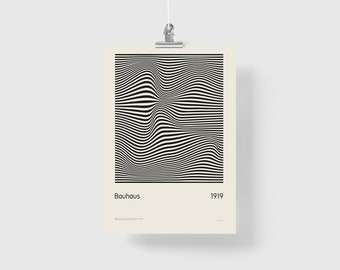 Bauhaus 1919 a cult poster in the new version - Poster Giclée Print. Fine Art Print
