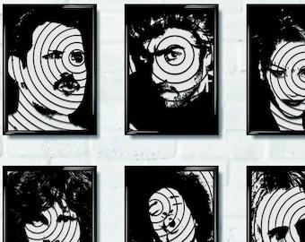 POP ART Music Icon stencil. Unique Laser Cut Perspex, Striking Wall Artwork Black perspex acrylic intricate lattice, Made in LONDON