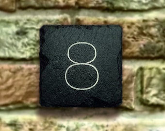 Engraved Slate Sign Door number, address sign. Choose your number. We then create your Custom Sign in slate, filled and oiled MADE IN LONDON