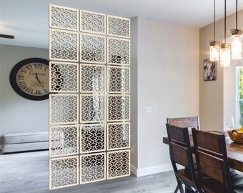 Room Divider panels Interior partition HARDWOOD Plywood decor Hanging screens. Modular and priced per 2300mm (x 400mm) drop, Made in LONDON.