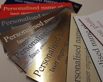 CUSTOM Engraved labels. Colours available including White, Almond, Red, Black, Grey, Blue, Brushed Silver, Bronze and Gold. Made in London
