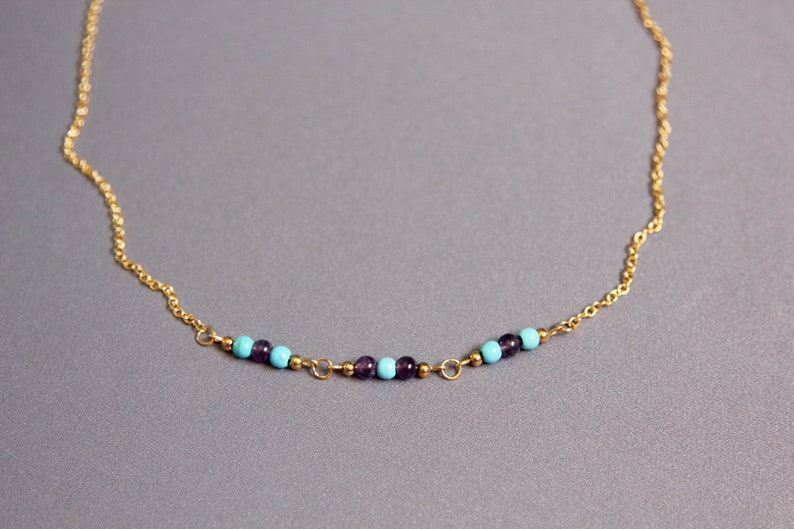 Turquoise and amethyst necklace for women 50th birthday gift for women Gold steel blue and purple gemstone necklace Mother of the groom gift
