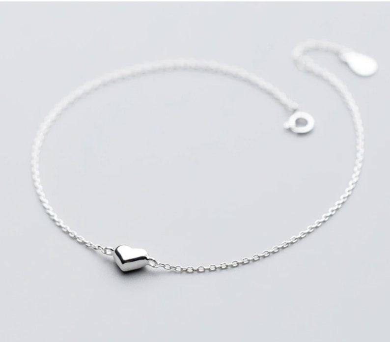 Minimalist Heart Sterling Silver 925 Bracelet\u2022 Girlfriend Gift\u2022 Birthday Gift\u2022 Statement bracelet