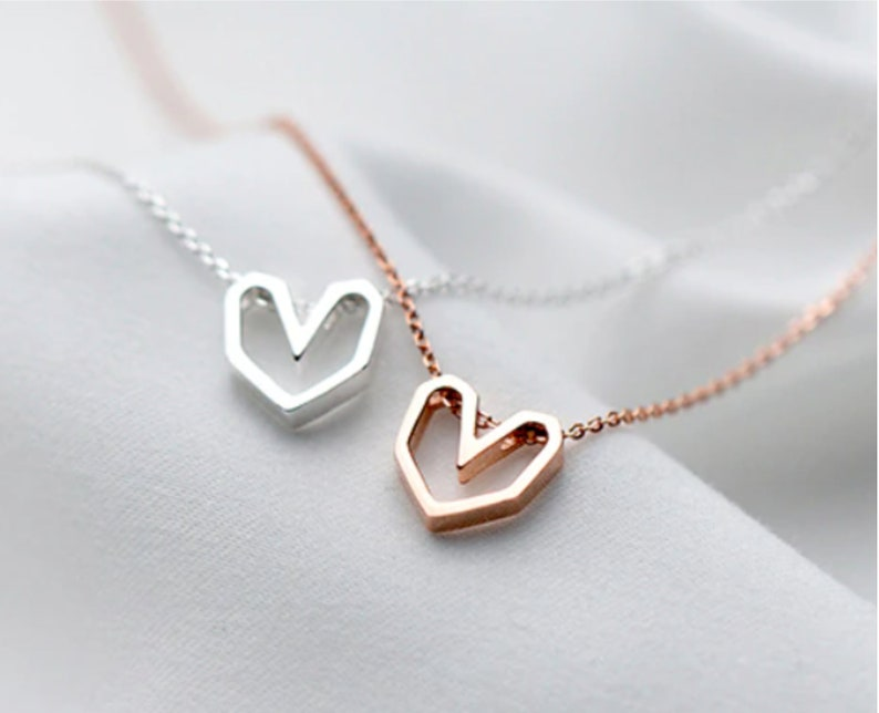 Geometric Heart Sterling Silver 925 necklace \u2022 Girlfriend Gift\u2022 Valentines Love Gift \u2022 Valentine Statement