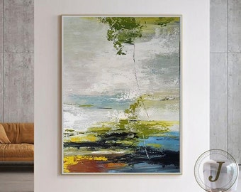 Large Abstract Painting Original Green Abstract Painting Minimalist Art Original Abstract Painting Landscape Painting Arcyling Painting