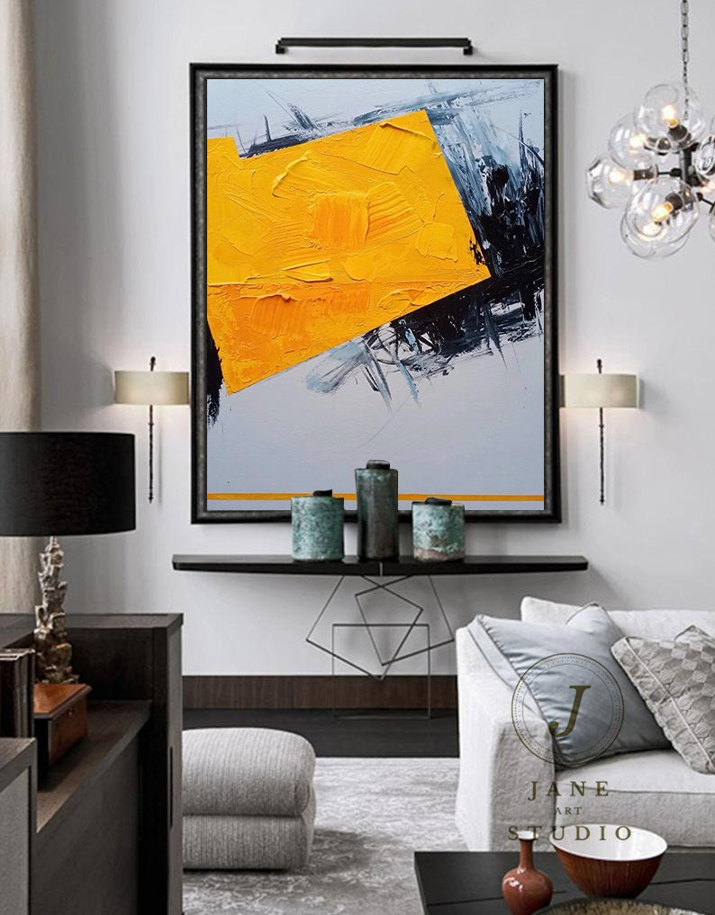 contemporary Living room art,large Original abstract painting on canvas,yellow oil painting,black gray painting,decor,large canvas art
