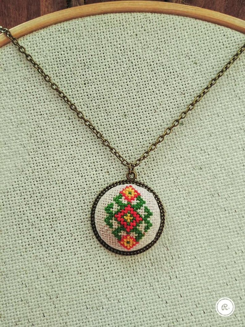 Necklace Handmade Embroidered Jewelry