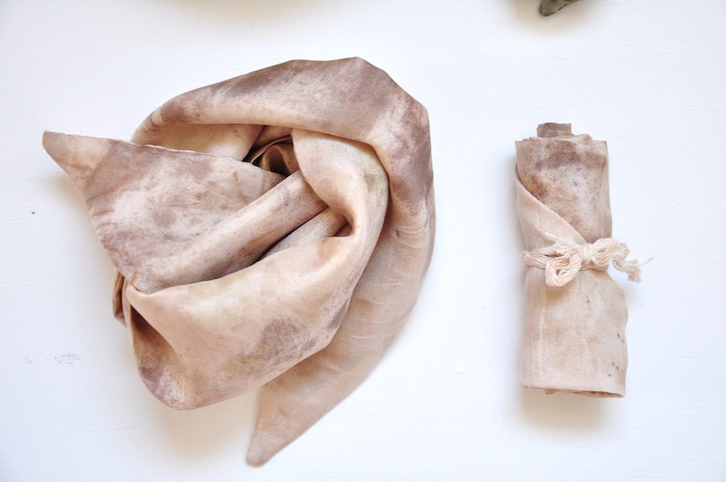 ISOBEL  Scarf silk headband naturally tinted vegetable image 0