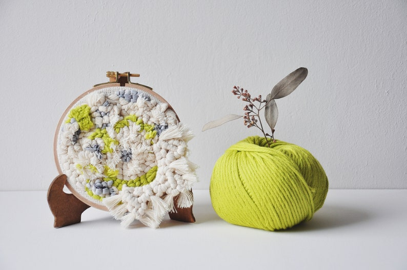 Punch needle on embroidery drum macrame ornament wall image 0
