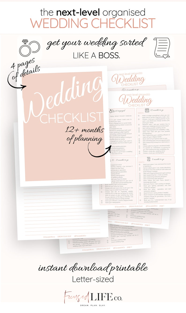 Detailed Wedding Checklist Printable Wedding To Do List Etsy