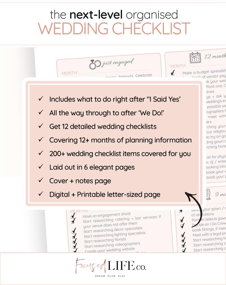 Detailed Wedding Checklist Printable | Wedding To Do List | Wedding  Checklist Timeline | Wedding Checklist Pdf | Wedding Planning Checklist