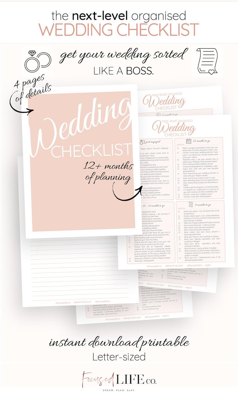 Detailed Wedding Checklist Printable  Wedding To Do List  image 0