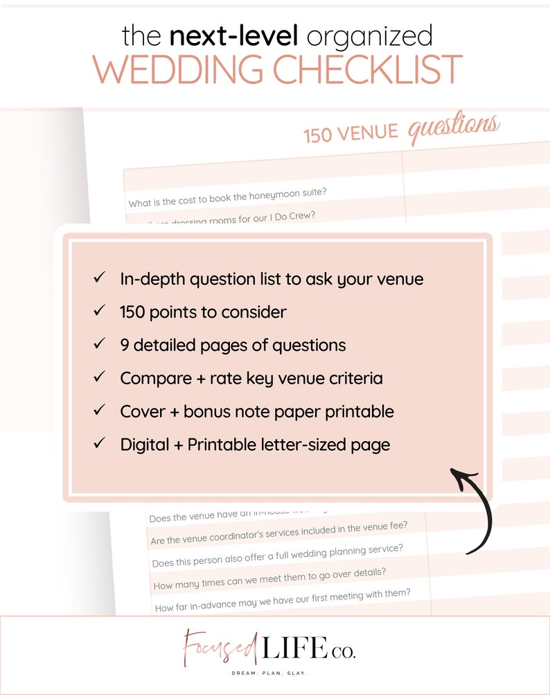 picture regarding Questions to Ask Wedding Venue Printable called Marriage ceremony Location Queries + Workbook 150 Marvel Wedding day Worksheet Printable Wedding ceremony Creating Printable PDF