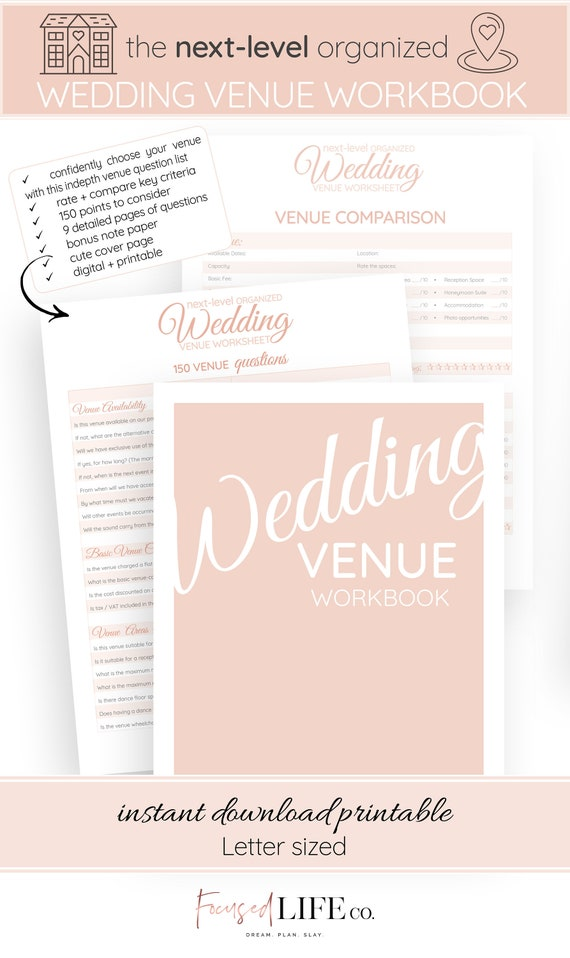 Wedding Venue Questions Workbook 150 Question Wedding Worksheet Printable Wedding Planning Printable Pdf