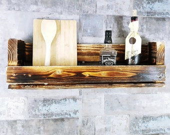 Vintage Regal 70 Cm Aus Geflammten Paletten Wein Flaschen Wandregal  Europalette Regal Küchenregal Gewürzregal Upcyling Holz Rustikal Shabby