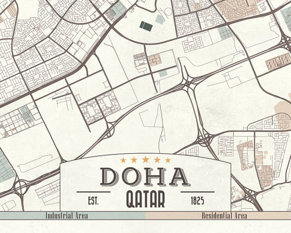 DOHA Qatar Canvas Map Retro Style Large Stretched Canvas Print Horizontal on alexandria area map, kyoto area map, rotterdam area map, cairo area map, qatar area map, hangzhou area map, narita area map, hyderabad area map, berlin area map, beijing area map, baghdad area map, kowloon area map, warsaw area map, bahrain area map, lilongwe area map, phnom penh area map, macau area map, mosul area map, kuala lumpur area map, bilbao area map,