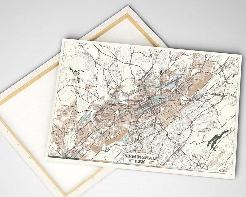 BIRMINGHAM Alabama Canvas Mappa Retrò Stile Grande Pronto ...