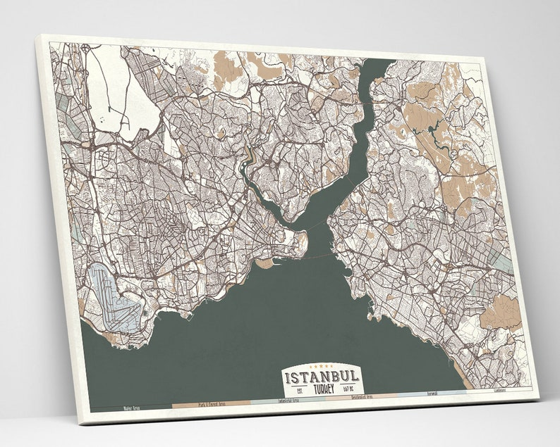 ISTANBUL Turkey Rolled Canvas Print Map Retro Style Large Canvas Print Horizontal Wall Art Beige Green Gray Ivory White Colors Retro Map