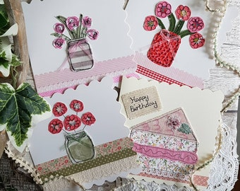 Handmade card pack fabric card pack card selection pack mothers day card stitched cards mum cards embroidery cards gran cards friend cards